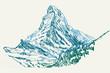 Rysynek ręcznie rysowany. Widok na górę Matterhorn w Alpach w Szawajcarii