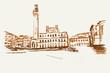 Rysynek ręcznie rysowany. Widok na plac w Sienie we Wloszech w Toskanii