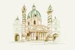 Rysynek ręcznie rysowany. Widok za kościół świetego Boromeusza w Wiedniu w Austrii