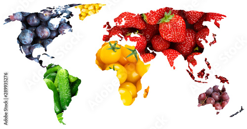 Fruits and vegetables. World map. Fresh food - 289935276