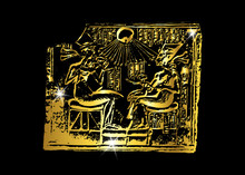 Egypt. Golden Bas-relief Illustration Of Gold Hieroglyph Carvings On The Wall. Complex Scene Carving Of Egyptian God And Pharaoh, Isolated Or Black Background