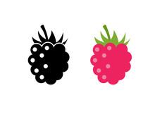 Raspberry Vector Icon Illustration. Flat Berry Sweet Healthy Organic Fruit Raspberry Blackberry