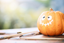 Happy Halloween With A Pumpkin. Background For Traditional Festival Halloween Or Thanksgiving.
