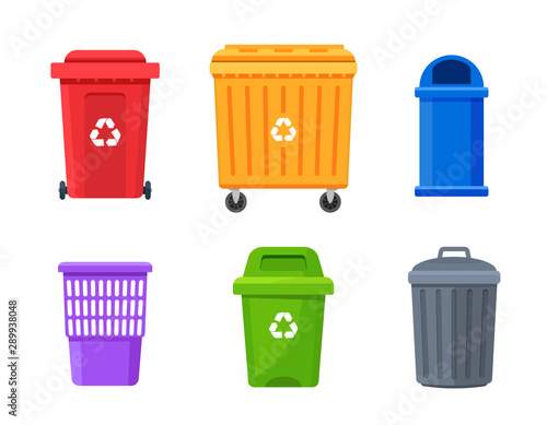 Fototapety, obrazy: Trash container bin icon. Garbage can metal recycle basket box for trash waste symbol
