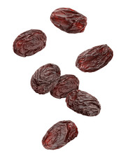 Falling Raisin Isolated On White Background, Clipping Path, Full Depth Of Field