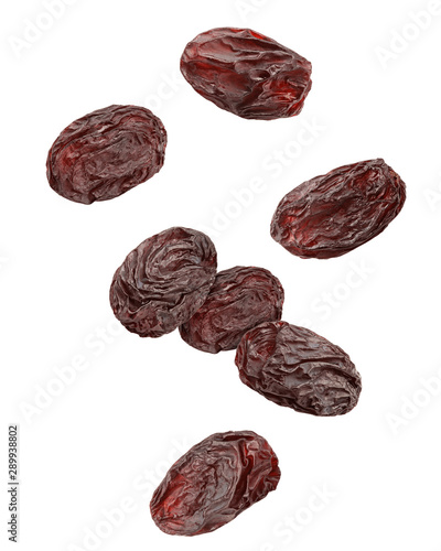 Falling raisin isolated on white background, clipping path, full depth of field Fototapet