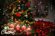 Christmas Flowers,candles,Merry Christmas text ,Poinsettia plant,illuminated tree background snow