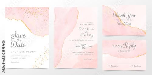Obraz Rose gold wedding invitation cards template set. Artistic watercolor background of pink brush stroke splash. Abstract foil design - fototapety do salonu