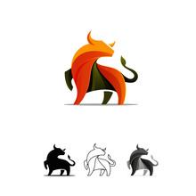 Awesome Bull Design Logo Colorfull