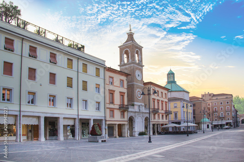 Beautiful view of the Square of the Three Martyrs in Rimini, Italy Fototapeta