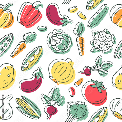 Vegetables Vector Seamless Pattern Veggies Background Healthy Eating White Texture Hand Drawn Color Icons Dietary Nutrition Tomato Eggplant Vegetarian Food Wrapping Paper Wallpaper Design Buy This Stock Vector And Explore Similar
