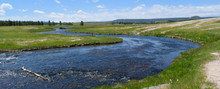 River In A Prairie Field In Yellowstone National Park, Wyoming, USA