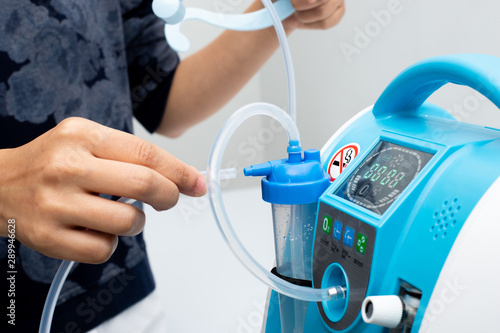 Foto Medical Device Individual Blue White portable oxygen cylinder to put gas for pat