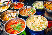 Delicious Fresh Street Food In Thailand - Top View - Thai Curry, Tamarind, Tom Yam, Shrimp, Pork, Pad Thai