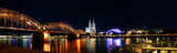Panorama Cologne Cathedral and Hohenzollern Bridge at night , Cologne, Germany