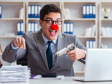 Clown Businessman Working In T...