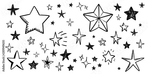 Obraz Star doodle collection. Set of hand drawn stars. Scribble illustrations. - fototapety do salonu