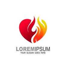 Fire Heart Logo Designs Concept Vector, Love Fire Logo Symbol Icon, 3d Icon