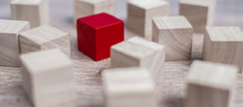 Red Cube Block Different From Crowd Of Wood Blocks. Unique Leader, Strategy, Independence, Think Different, Business And Success Concept