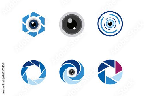 Photo lens logo icon vector set