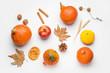Leinwanddruck Bild - Autumn composition with pumpkins on white background