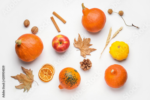 Fotografie, Obraz  Autumn composition with pumpkins on white background