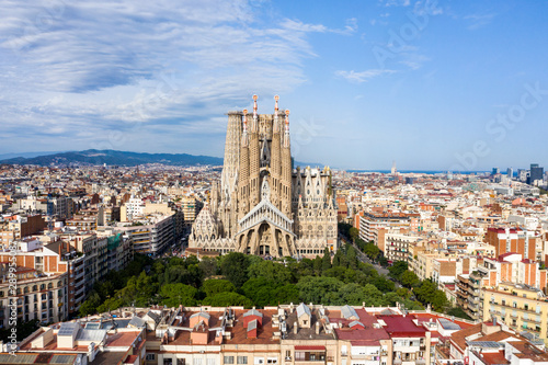 Foto auf Leinwand Barcelona La Sagrada Familia Drone view of the uncomplete Cathedral in Barcelona Spain