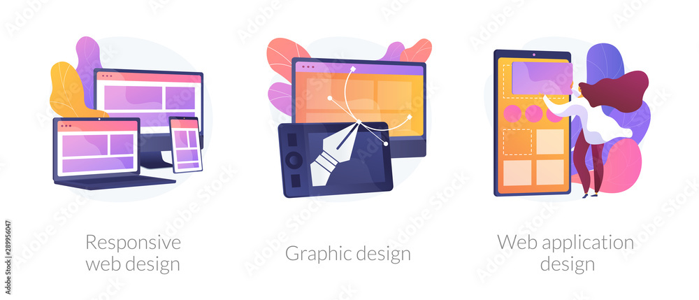 Fototapeta Adaptive programming icons set. Multi device development, software engineering. Responsive web design, graphic design, web application design metaphors. Vector isolated concept metaphor illustrations