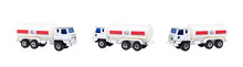 White Shabby Fuel Tanker Or Container Truck Model Toy Isolated On White Background.