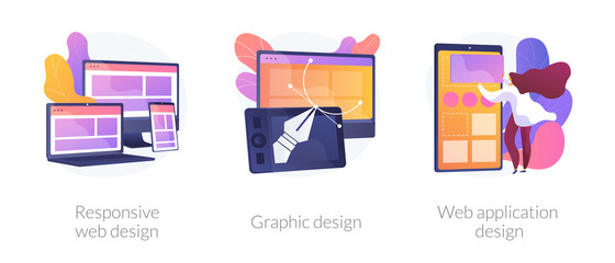 Adaptive programming icons set. Multi device development, software engineering. Responsive web design, graphic design, web application design metaphors. Vector isolated concept metaphor illustrations