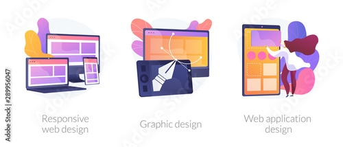 Obraz Adaptive programming icons set. Multi device development, software engineering. Responsive web design, graphic design, web application design metaphors. Vector isolated concept metaphor illustrations - fototapety do salonu