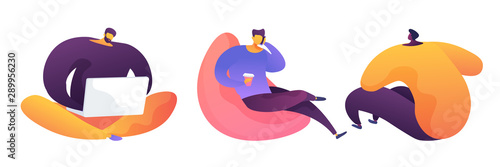 Fotografía Coworking zone vector illustrations set