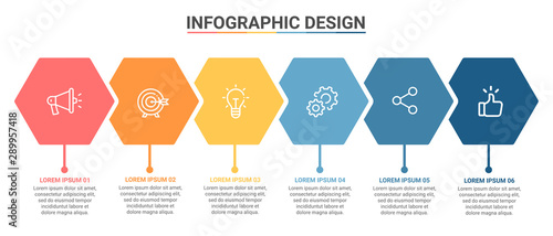 Photo Infographic Template Hexagon Design Options and Steps Progress Bussines Vector