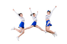 Group Of Cheerleader Girls Jumping Together On Studio