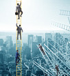 Leinwanddruck Bild Businessman climbing career ladder in business concept