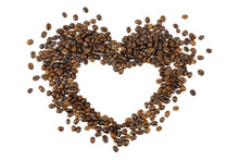 Coffee Beans In Heart Shape Is...