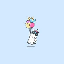 Cute Unicorn With Sunglasses Holding Balloons, Vector Illustration