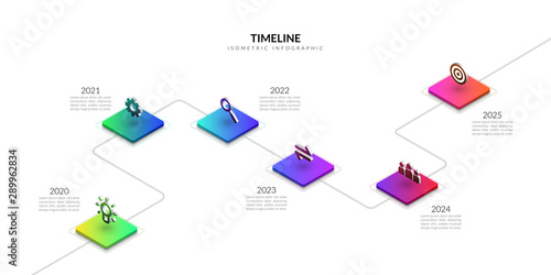 Fototapeta Isometric timeline business infographic, Colorful graphic elements obraz