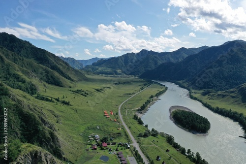 Poster Kaki Katun river in the mountains of the Altai Republic, aerial view, summer month August