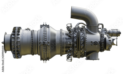 Fototapeta  Gas turbine engine of feed gas compressor. 3d rendering.