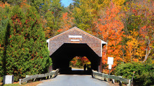 Historic Swiftwater Covered Bridge In Rural Vermont
