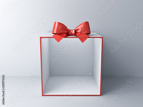Blank empty display gift box showcase on white room background with shadow 3D re Canvas Print