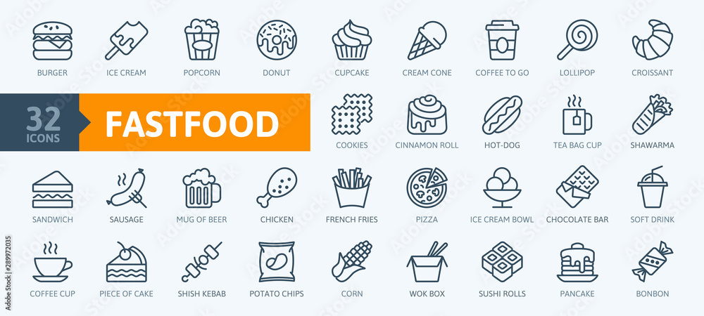 Fototapeta Fastfood - outline web icon set, vector, thin line icons collection