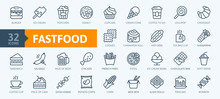 Fastfood - Outline Web Icon Set, Vector, Thin Line Icons Collection