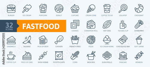 Fotomural Fastfood - outline web icon set, vector, thin line icons collection