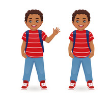 Smiling School Boy With Backpack Waving Hand Isolated Vector Illustration