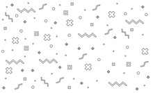 Pattern Hipster Abstract. Form Geometric Line Shapes. Fashion Style Seamless Background, Banner, Poster.Illustration Black - White