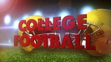 """An Exciting 3D Render Of """"COLLEGE FOOTBALL"""" On A Football Field With Two Football Helmets."""