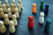 canvas print picture - Diversity and Inclusion concept. Wooden and colored figurines.