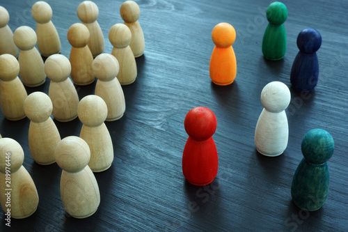 Diversity and Inclusion concept. Wooden and colored figurines. Canvas Print